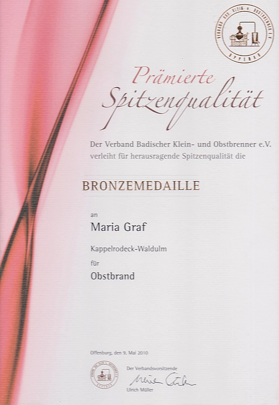 Obstbrand Bronze 2010